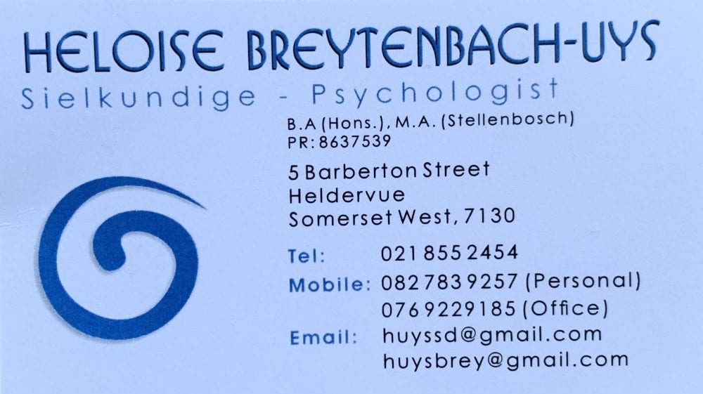 Heloise Uys Psychologist business card