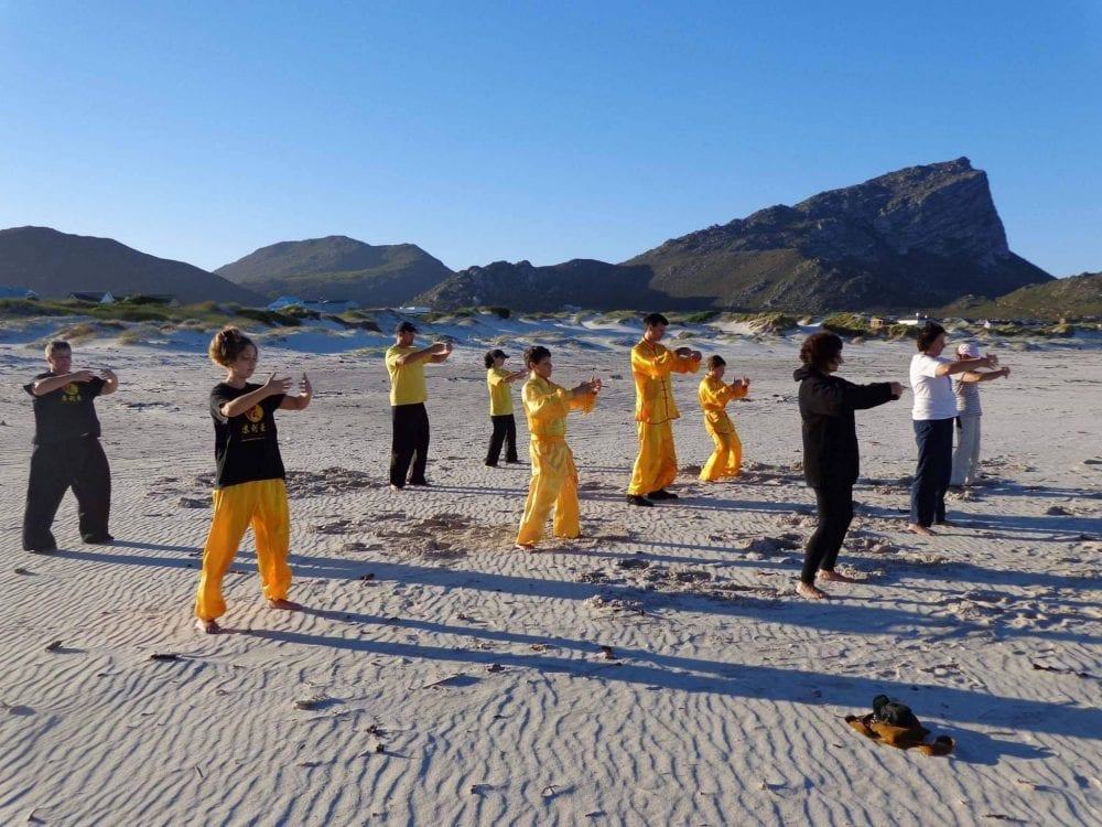 Somerset West Kung Fu Academy group on Strand beach