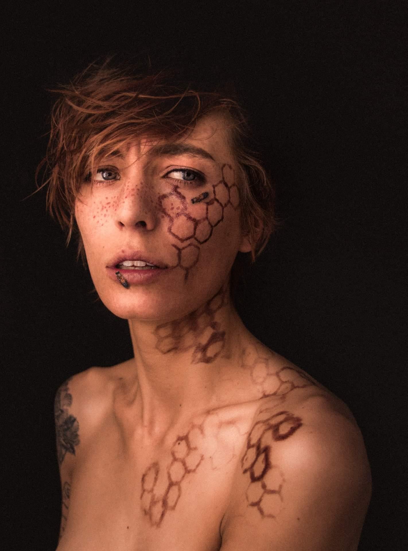 Closeup of woman with hive makeup
