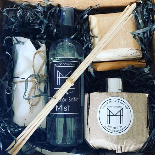 Gift box filled with home and body products from MiStudio Collection