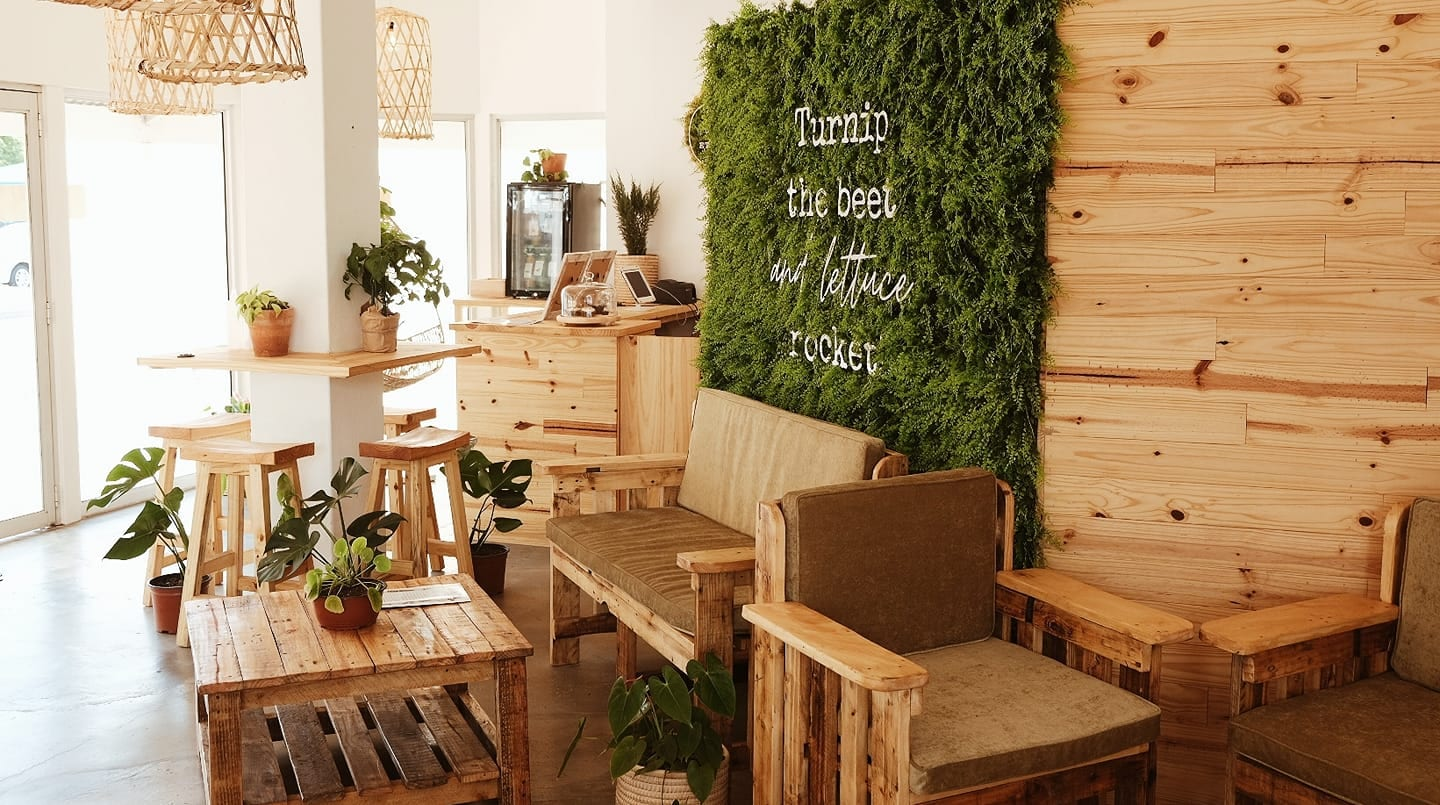 Earthy, wooden interior of Treetery Ethical Eatery in Somerset West with a green accent wall