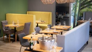 Modern, colourful interior of The Eatery at Silver Forest