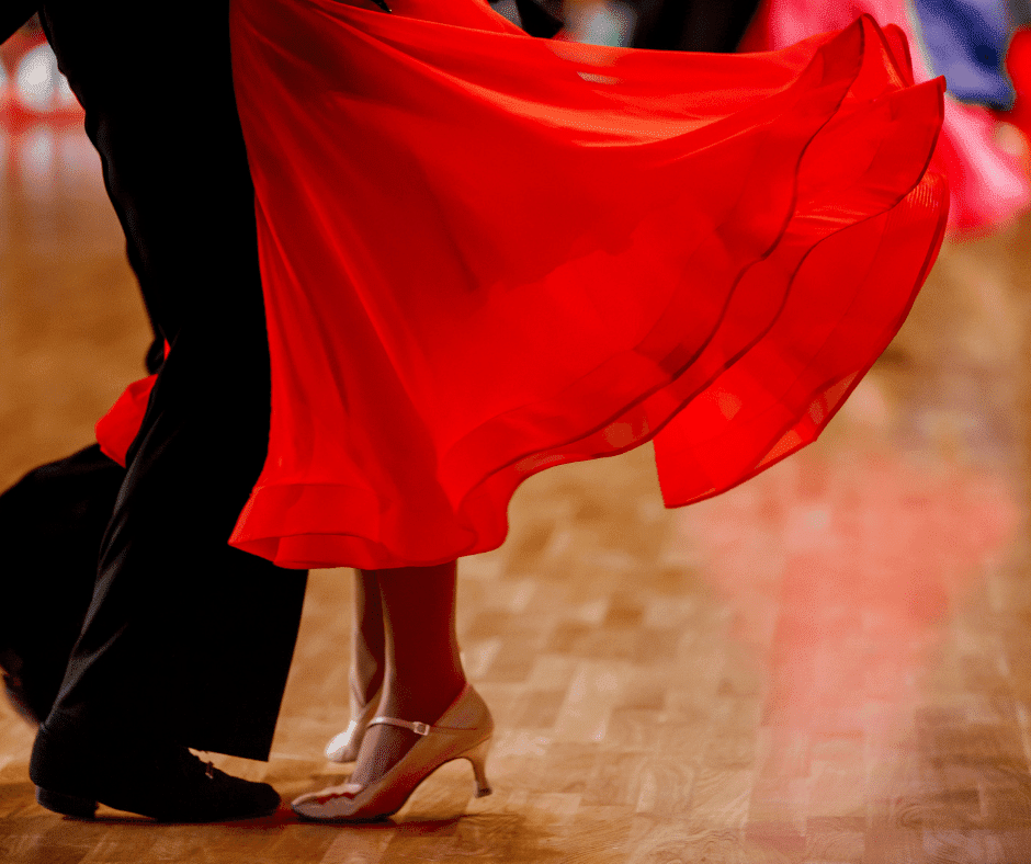 Closeup of a couple dancing in a Latin American style