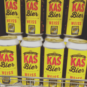 Yellow cans of Kas Bier