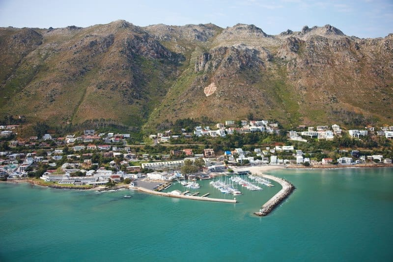 Aerial view of Gordon's Bay below the Hottentots Holland Mountains