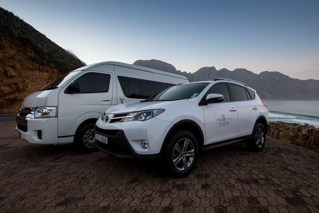 White van and white 4x4
