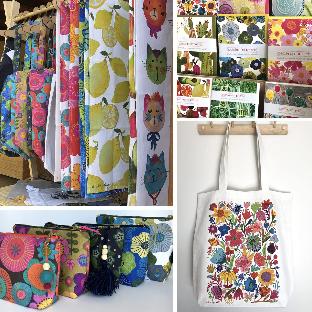 Colourful products by Petal Print Stitch