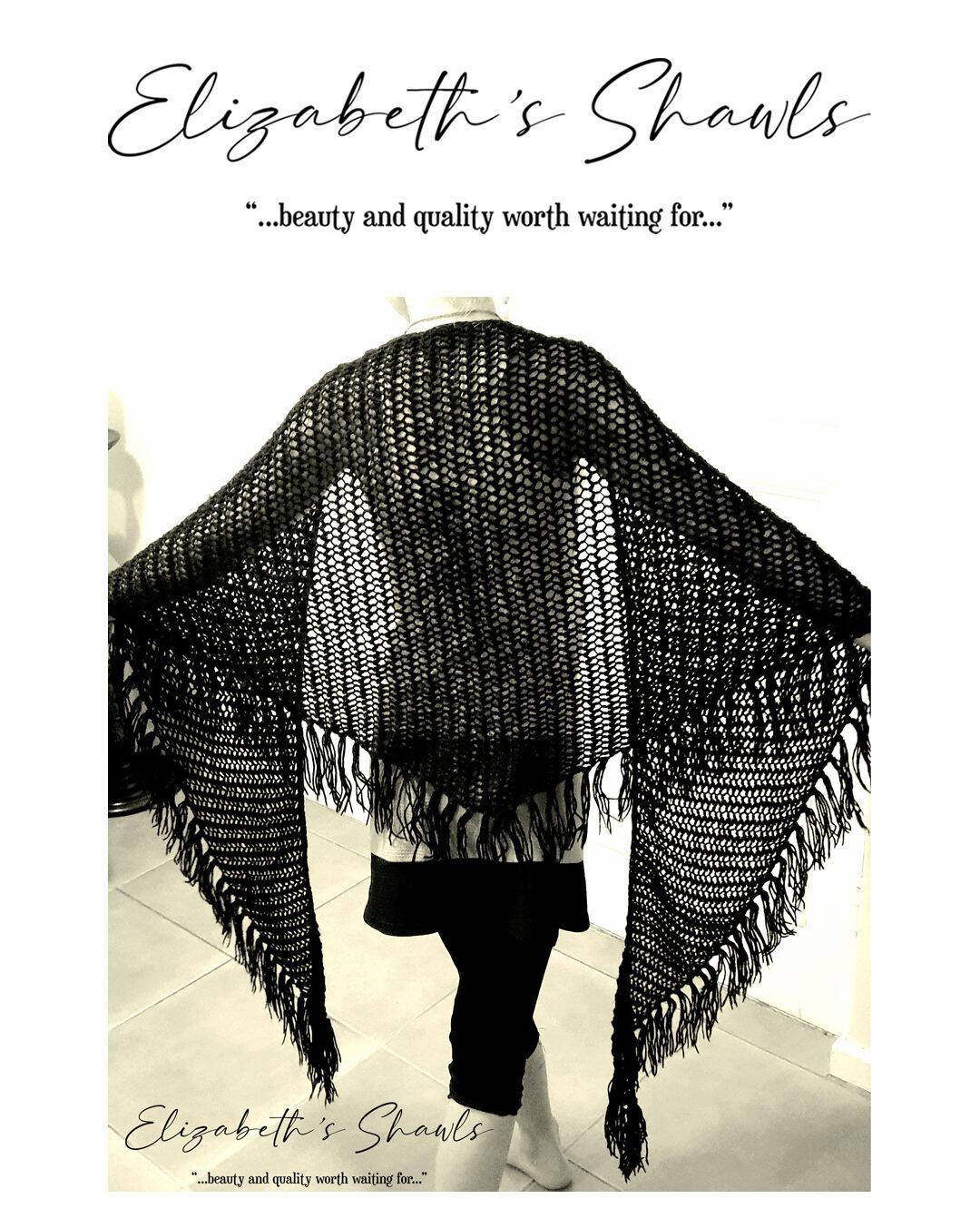 Black handmade shawl by Elizabeth's Shawls