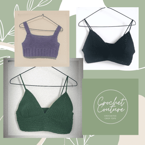 Three crop tops made by Crochet Couture