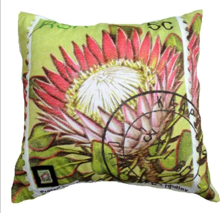 South African stamp cushion cover locally made by heART At Work