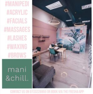 Mani and Chill flyer showing the pink and green interior of the beauty salon